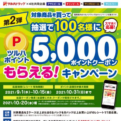 【ツルハ×4社共同企画】対象商品購入で抽選で100名様にツルハポイン5,000ポイントクーポンもらえる!
